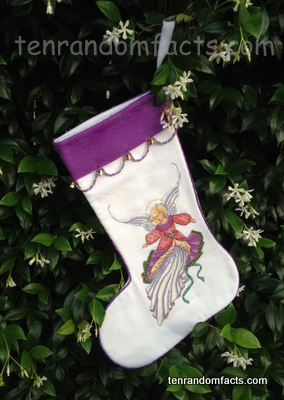 Christmas Stocking, Angel, Embroidery, Cross-Stitch, Girl, Pretty, Ten Random Facts