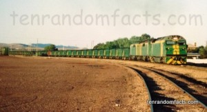Frieght Train, Green, Yellow, Long, Full, Cargo, Goods, Coal, Australia, Copley from Leigh Creek, South Australia, Ten Random Facts