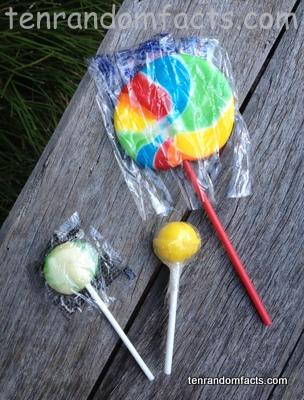 Lollipop, Rainbow, Circular, Sphere, Green, Yellow, White, The Rocky Rock Candy Co, 30 grams, Ten Random Facts