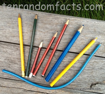 Pencils, Yellow Colouring In Pencil, Bendable Pencil, Lead Pencils, Red and Black Stripes, Blue, Many, Lots, Green, Ten Random Facts