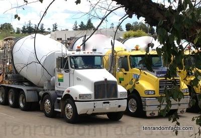 Cement Truck, Mixer, Concrete, Yellow, white, Boral, Australia, Green, Ten Random Facts
