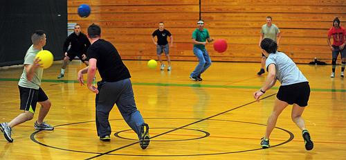 dodgeball, action, four balls, throw, blue, Yellow, Red, BOSS Dodgeball Tournament, California, America, General, Sport, Presidio of Monterey: DLIFLC & USAG, Flickr, Ten Random Facts,