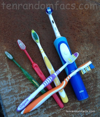 Toothbursh, electric, Orange, Red, Yellow, Green, Shiny, Purple, Colgate, Ten Random Facts