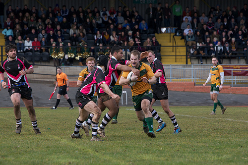 Rugby League, University, Varsity, Players, tackle, ball, game, play, yellow, black, red, green, Ten Random Facts, Flickr