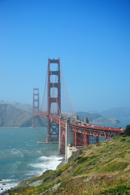 Golden Gate Bridge, Red, Orange, Misty, fog, Blue, Sea, Water, Suspension, Long, San Franisco, Car, United States, Ten Random Facts, Free Digital Photos