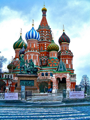 Wonderful Day, Saint Basil Cathedral, Moscow, Russia, Church, Brightly Coloured, Front Good Looking