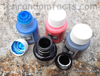 Ink, red, blue, black, lids, cover, inside, bottles, Ten Random Facts, Art Spectrum Brand, Artist's Pigmented, Drawing Ink Brand, Indian Black