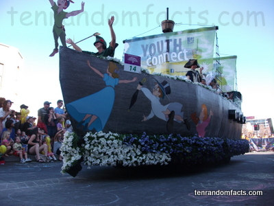 Toowoomba Carnival of Flowers, Youth Connect, Float Boat, Parade, Flowers, Peter Pan, Ten Random Facts