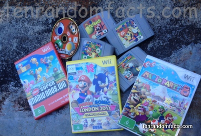 Mario Franchise. Games, Nintendo 64, Wii, New Super Marios Bros Wii, Mario and Sonic at the London 2012 OLympic Games, Mario Party 8, Mario Tennis, Super Mario 64, Mario Kart 64