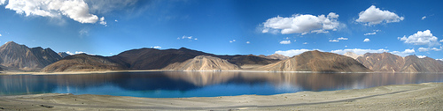 Pangong Tso Lake, China, India, Basin, Salt water. Mountain, Blue, Sunset, Panorama, ten random facts, flickr