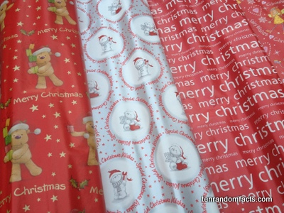 Wrapping Paper, Merry christmas, red, white, silver, Teddy Bear, Brown, Angel, four, Sheets, Ten Random Facts, Gift wrap