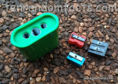 Sharpener, Green, Blue, Red, Silver, Grey, Metal, Plastic, Smiggle, Ten Random Facts,