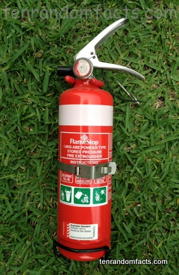 fire extinguisher, red, white, bottle, handheld, holder, Australian, single, Ten Random Facts, Emergency tool