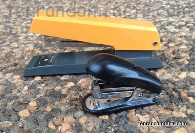 Stapler, Orange, Yellow, Metal, Black, Ten Random Facts, Office,