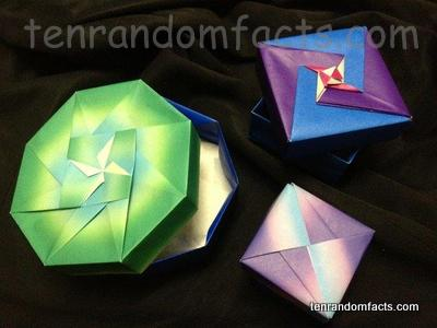 Origami Boxes, Coloured, Green, Purple, Bright, paper, Art, Ten Random Facts, Invention, Craft