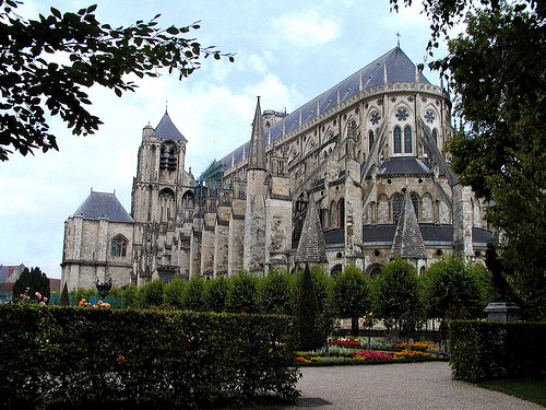 Bourges Cathedral, Church, Roman Catholic, Side, Garden, Outside, France, Ten Random Facts, Gothic Architecture, Building