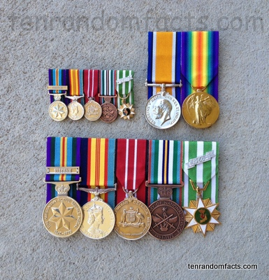 Military Decoration, Australia, War, Medals, Green, Red, Yellow, Blue, Metal, Small, Large