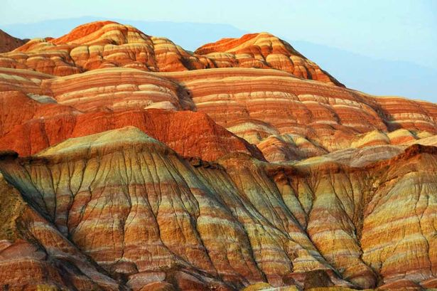 Zhangye Danxia Landform Geological Park, Beauty, Rainbow, Mountain, China, Ten Random Facts, Red, Orange, Green