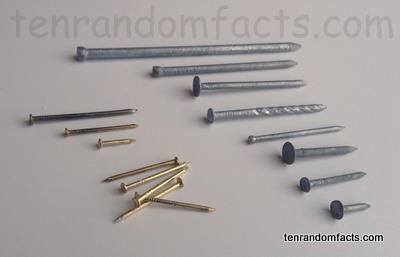 Nails (Invention), Trivia, Ten Random Facts, Metal, Construction, Assorted, Many, Metal,
