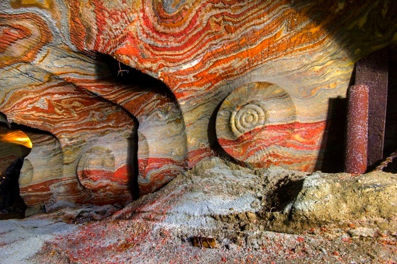 Salt Mine of Yekaterinburg, Trivia, Ten Random Facts, Stripes, Swirl, Orange, Bright, Russia, Underground