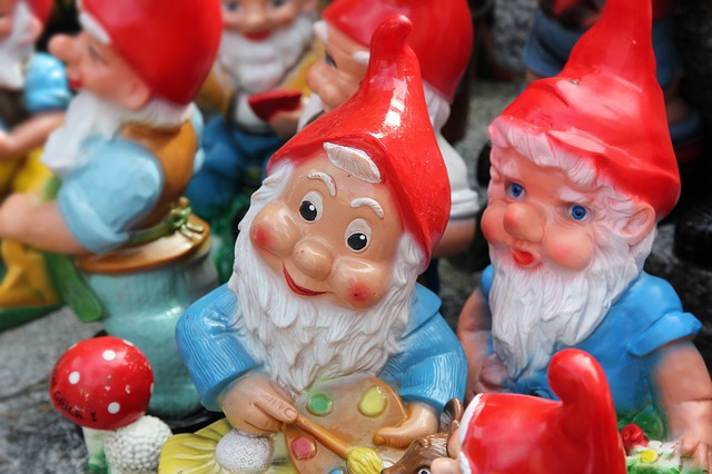 Garden Gnome, Dwarf, Invention, Stereotype, Old, Man, Red Hat, Assortment, Collection