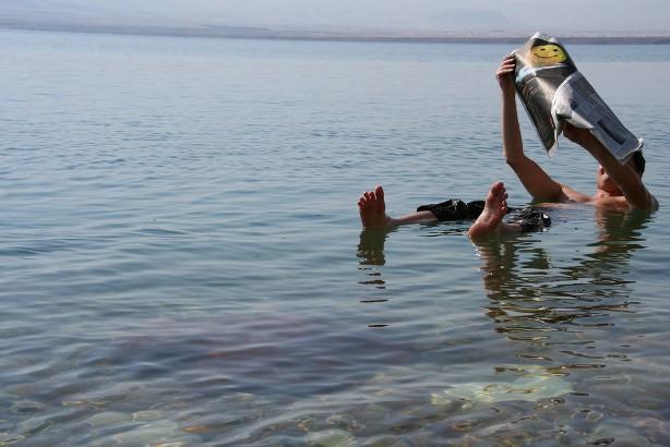 Dead Sea, Man, Floating, Israel, Jordan, Ocean, Water, Salt, Saline